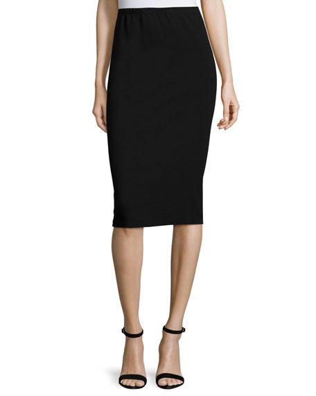 Punto Milano Long Pencil Skirt, Black, Plus Size