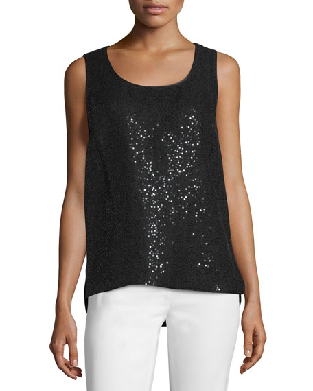 Lafayette 148 New York Cleo Sleeveless Sequined-Front Blouse, Women's