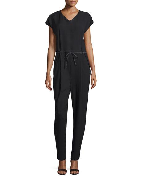 Lafayette 148 New York Columbia Drawstring-Waist Jumpsuit, Black, Plus Size