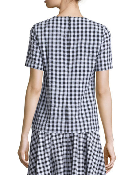 Short-Sleeve Gingham Seersucker Blouse