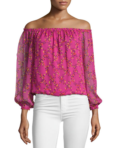 Kamber Shalamar Trellis Off-the-Shoulder Silk Top, Pink
