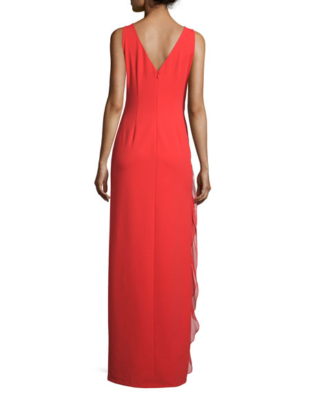Sleeveless Boat-Neck Ruffled Gown, Red