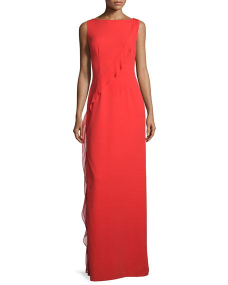 Aidan Mattox Sleeveless Boat-Neck Ruffled Gown, Red