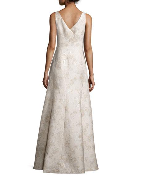 Sleeveless Bateau-Neck Mermaid Gown, Champagne