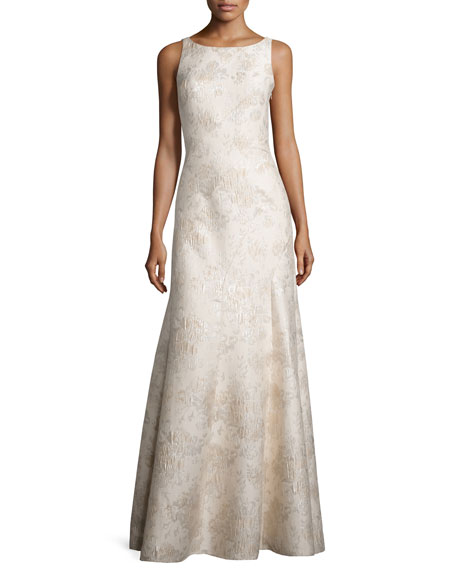 Sleeveless Bateau-Neck Mermaid Gown, Champagne