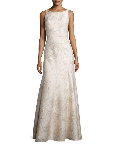 Aidan Mattox Sleeveless Bateau-Neck Mermaid Gown, Champagne