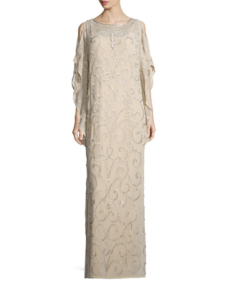 Aidan Mattox Long-Sleeve Embellished-Scroll Caftan, Light Gold