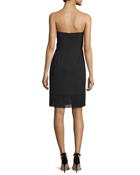 Strapless Sheath Dress W/Fringe Hem, Black