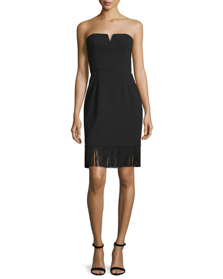 Aidan Mattox Strapless Sheath Dress W/Fringe Hem, Black