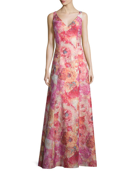 V-Neck Floral-Print A-Line Gown, Peach/Multi
