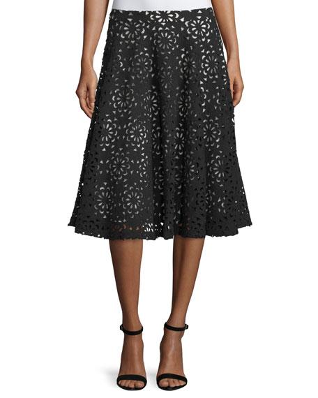 Alice + Olivia Viviana Floral A-Line Skirt, Black/Sesame