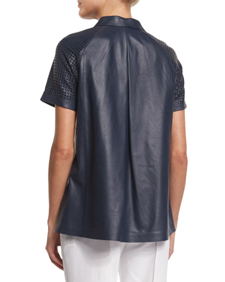 Lafayette 148 New York Ingrid Lamb Leather Blouse with Perforated Sleeves, Blue