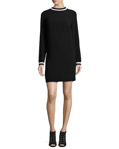 Long-Sleeve Contrast-Trim Shift Dress, Black/White