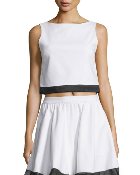 Alice + Olivia Emmalyn Sleeveless Boxy Silk-Trim Top,