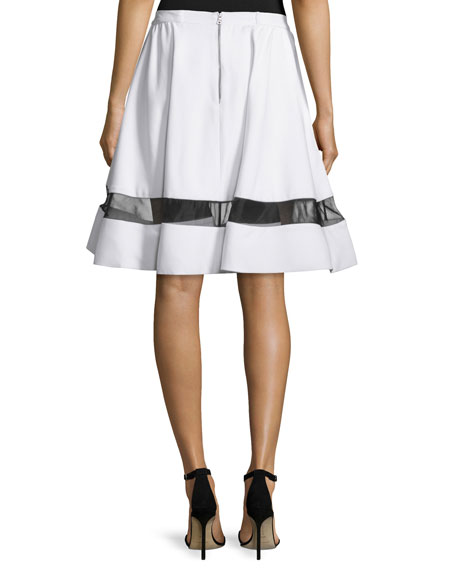 Lotus Silk-Trim A-Line Skirt, White/Black