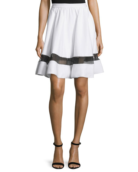 Alice + Olivia Lotus Silk-Trim A-Line Skirt, White/Black
