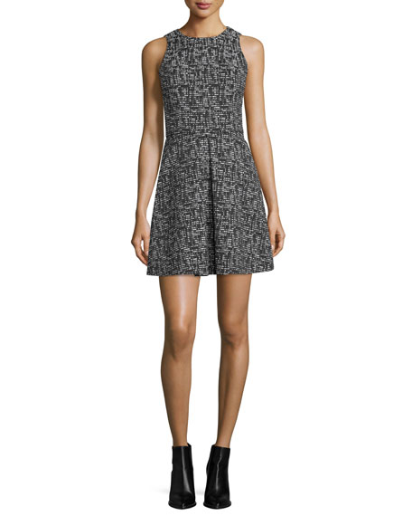 Alice + Olivia Janette Sleeveless Tweed A-Line Dress, Black/Cream