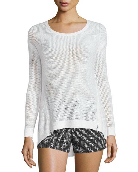 Alice + Olivia Harpo Angled Mesh-Knit Sweater, White