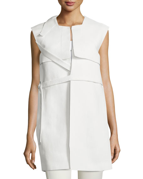 CoSTUME NATIONAL Sleeveless Belted Column Jacket, Optic White