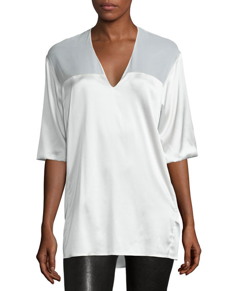 CoSTUME NATIONAL Half-Sleeve V-Neck Top, White