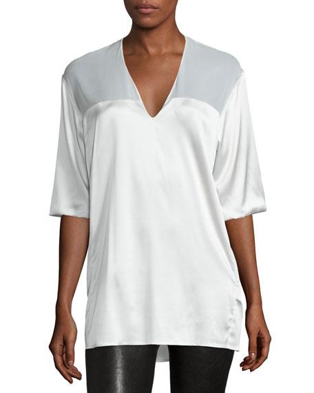 CoSTUME NATIONAL Half-Sleeve V-Neck Top, White