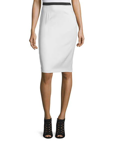 CoSTUME NATIONAL Contrast-Waist Pencil Skirt, White/Off White