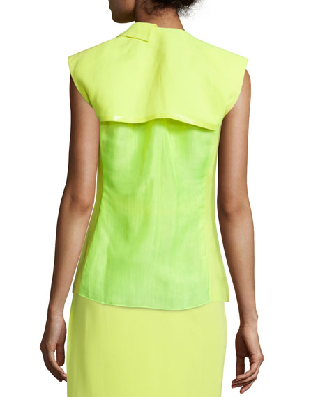 Sleeveless Fitted Jacket, Neon