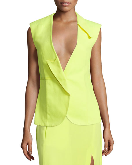 Costume National Sleeveless Fitted Jacket, Neon