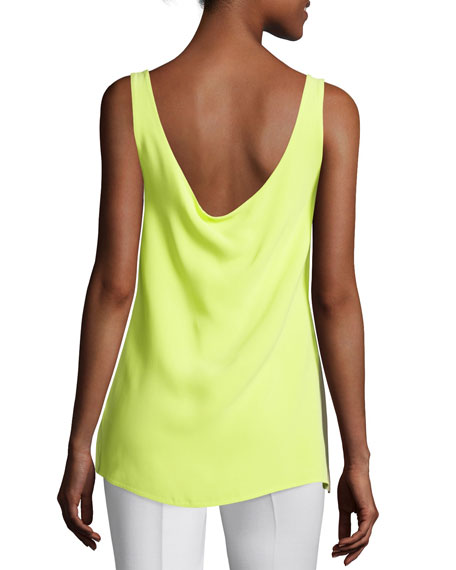 Sleeveless Draped-Back Top, Neon