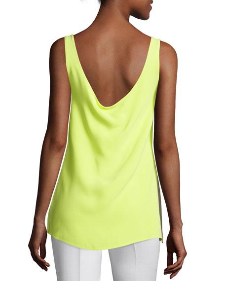 Sleeveless Draped-Back Top, Neon