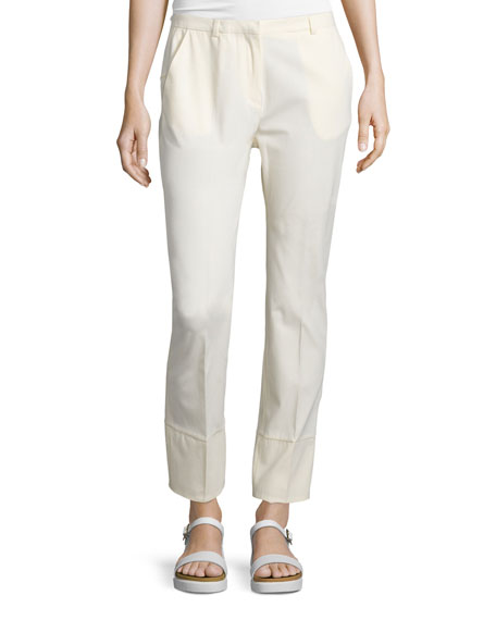 Costume National Straight-Leg Ankle Trousers, Cream