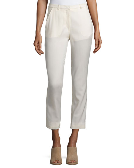 Costume National Slim-Leg Cropped Trousers, Cream