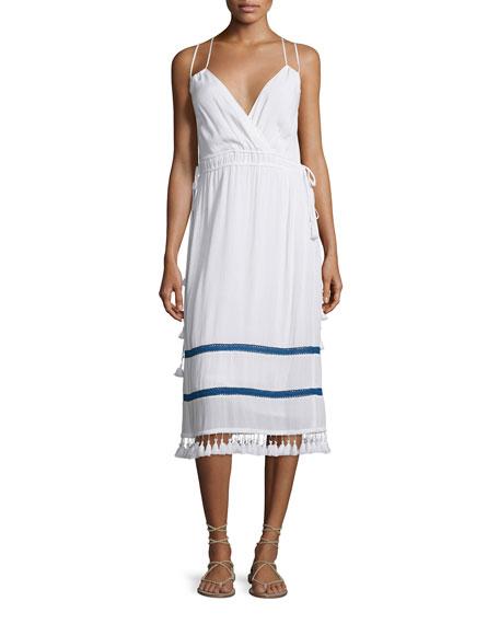 Ella Moss Tamani Sleeveless Midi Dress, White/Admiral Trim