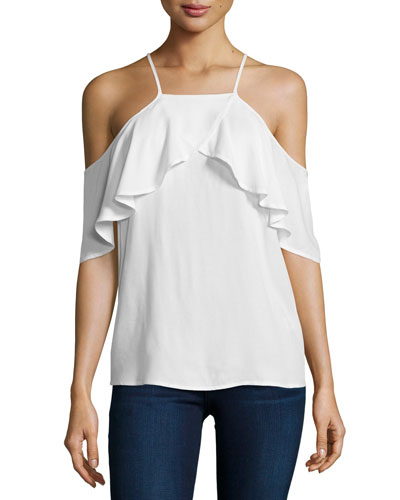 Stella Cold-Shoulder Ruffle Top, White