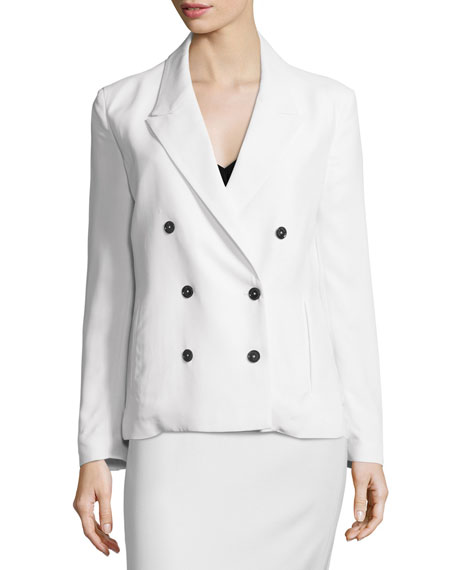 Double-Breasted Slim-Fit Jacket, White