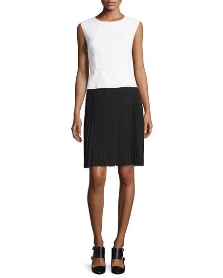 CoSTUME NATIONAL Sleeveless Colorblock Sheath Dress, White