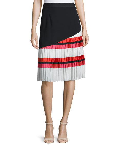 Sachin & Babi Pleated Striped A-line Combo Skirt