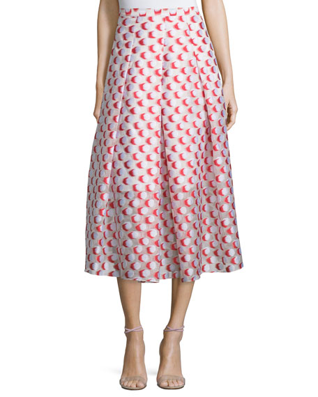Sachin & Babi NoirPleated Polka-Dot Midi Skirt, Tomato