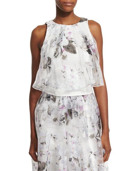 Sachin & Babi Sleeveless Floral-Print Overlay Crop Top