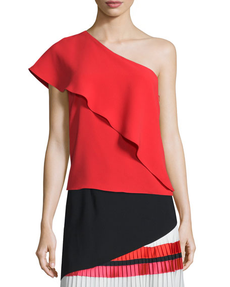 Sachin & Babi One-Shoulder Ruffle-Panel Top & Pleated