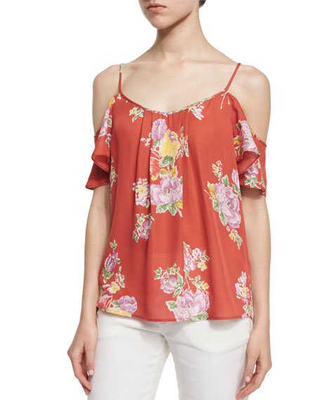 JoieAdorlee Floral-Print Cold-Shoulder Top