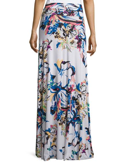 Long Printed Full Skirt, Botanical