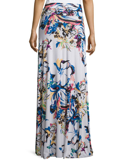 Long Printed Full Skirt, Botanical, Plus Size