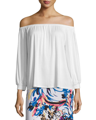 Ayumi Off-the-Shoulder Top, White, Plus Size