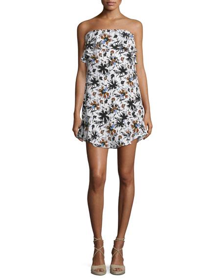 A.L.C. Romy Strapless Floral Silk Mini Dress, White/Multicolor