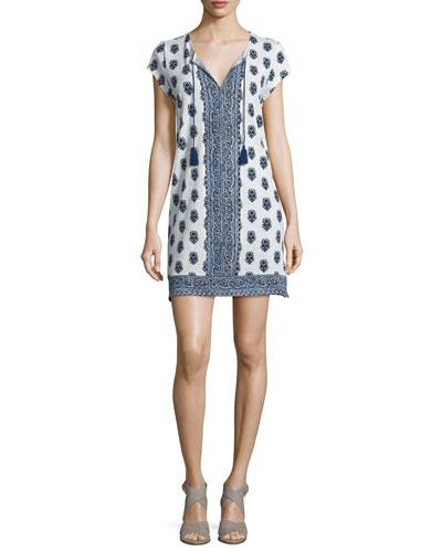 Gadhi Printed Split-Neck Dress