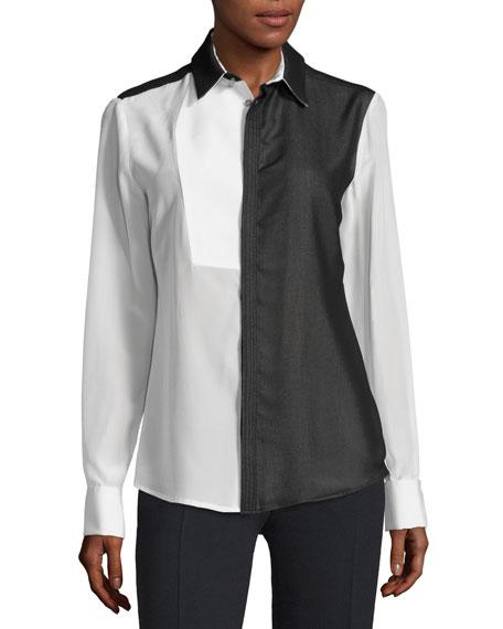 CoSTUME NATIONAL Long-Sleeve Colorblock Shirt, Black/White