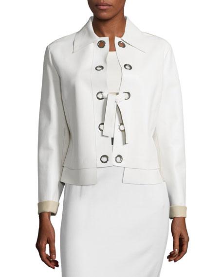 CoSTUME NATIONAL Kaban Leather Jacket, White