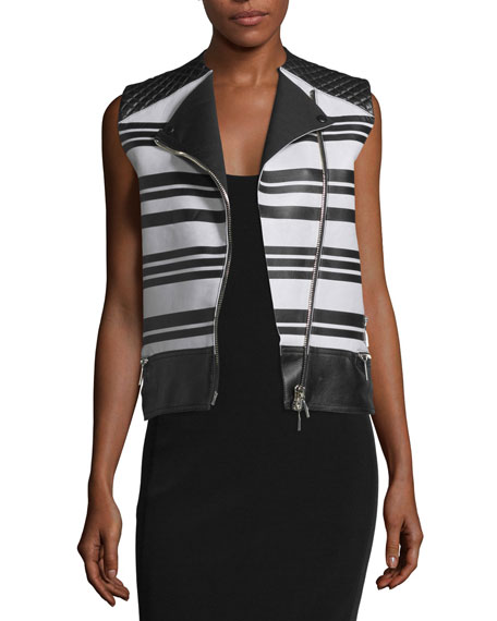 CoSTUME NATIONAL Sleeveless Asymmetric-Zip Leather Waistcoat, Black/White