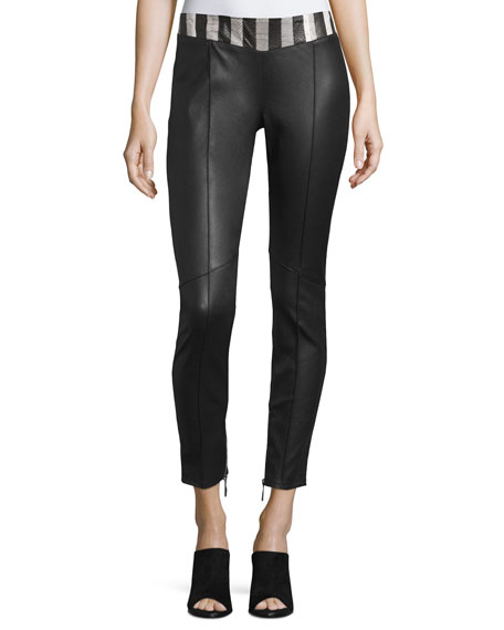 CoSTUME NATIONAL Snakeskin-Waist Leather Pants, Black